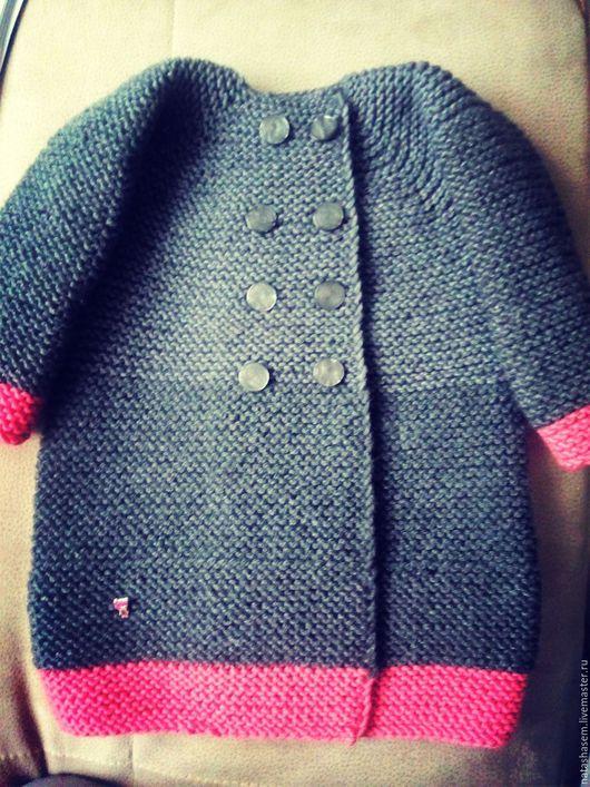 Верхняя одежда ручной работы. Ярмарка Мастеров - ручная работа. Купить Вязанное пальто для девочки. Handmade. Серый, пальто для девочки