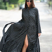 Одежда handmade. Livemaster - original item Long, stylish cotton shirt dress - KA0195CT. Handmade.