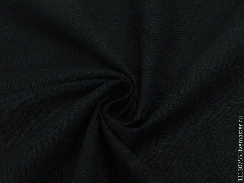 Ткань натуральная лён с хлопком черный, Ткани, Москва,  Фото №1