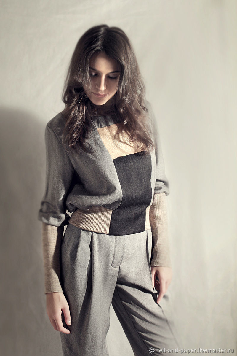 Grey stylish Sweater in wool, silk and knitwear, Blouses, St. Petersburg,  Фото №1