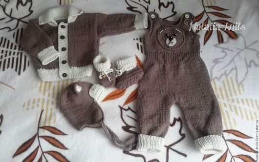 """Одежда для мальчиков, ручной работы. Ярмарка Мастеров - ручная работа. Купить Вязаный комплект для малыша """" Мишутка"""".. Handmade. Комбинированный"""
