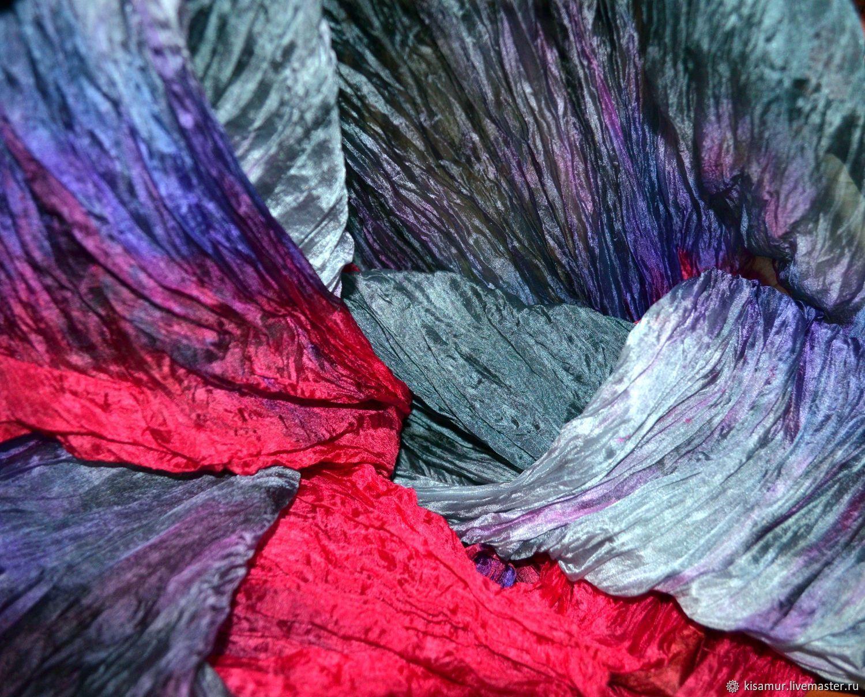 Шарф малиново серый с фиолетовым широкий длинный женский шёлковый шарф, Шарфы, Вязьма,  Фото №1