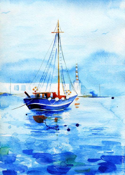 Пейзаж ручной работы. Ярмарка Мастеров - ручная работа. Купить Море. Handmade. Бирюзовый, кораблик, пейзаж, океан, лето