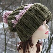 Аксессуары handmade. Livemaster - original item Sakura hat with pompom knitted with thick yarn Pink marsh. Handmade.