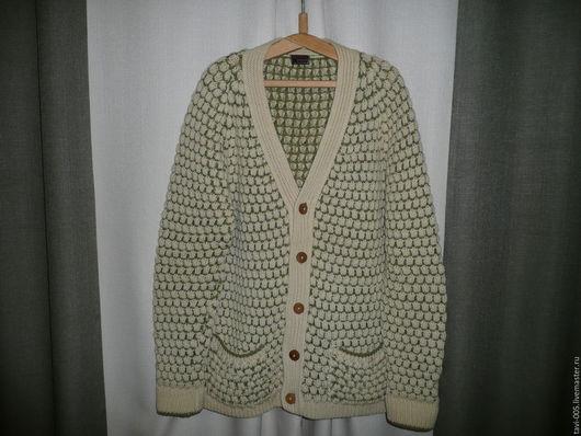Одежда. Ярмарка Мастеров - ручная работа. Купить классический шерстяной кардиган. Handmade. Оливковый, кардиган на пуговицах