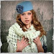 """Аксессуары ручной работы. Ярмарка Мастеров - ручная работа """"Зимний день"""" шляпка-таблетка. Handmade."""