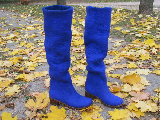 Обувь ручной работы. Ярмарка Мастеров - ручная работа. Купить Валяные высокие сапоги LYRICA ультрамарин. Handmade. Синий
