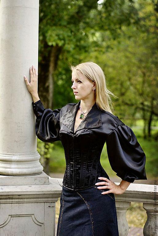 Рубашка под корсет черная, Блузки, Москва,  Фото №1