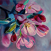 Картины и панно handmade. Livemaster - original item Painting of flowers, oil on canvas on stretcher 24h30. Handmade.