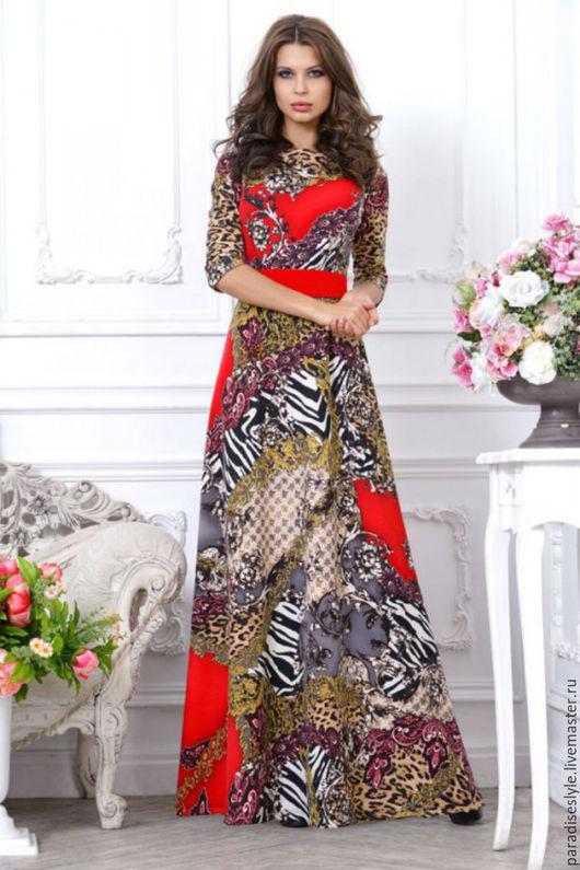 """Платья ручной работы. Ярмарка Мастеров - ручная работа. Купить Эффектное платье с принтом """"зебра"""" на красном фоне. Handmade."""