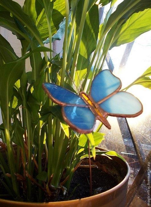 """Украшения для цветов ручной работы. Ярмарка Мастеров - ручная работа. Купить Украшение для цветов """"Голубая бабочка"""".подарок на 8 Марта.. Handmade."""