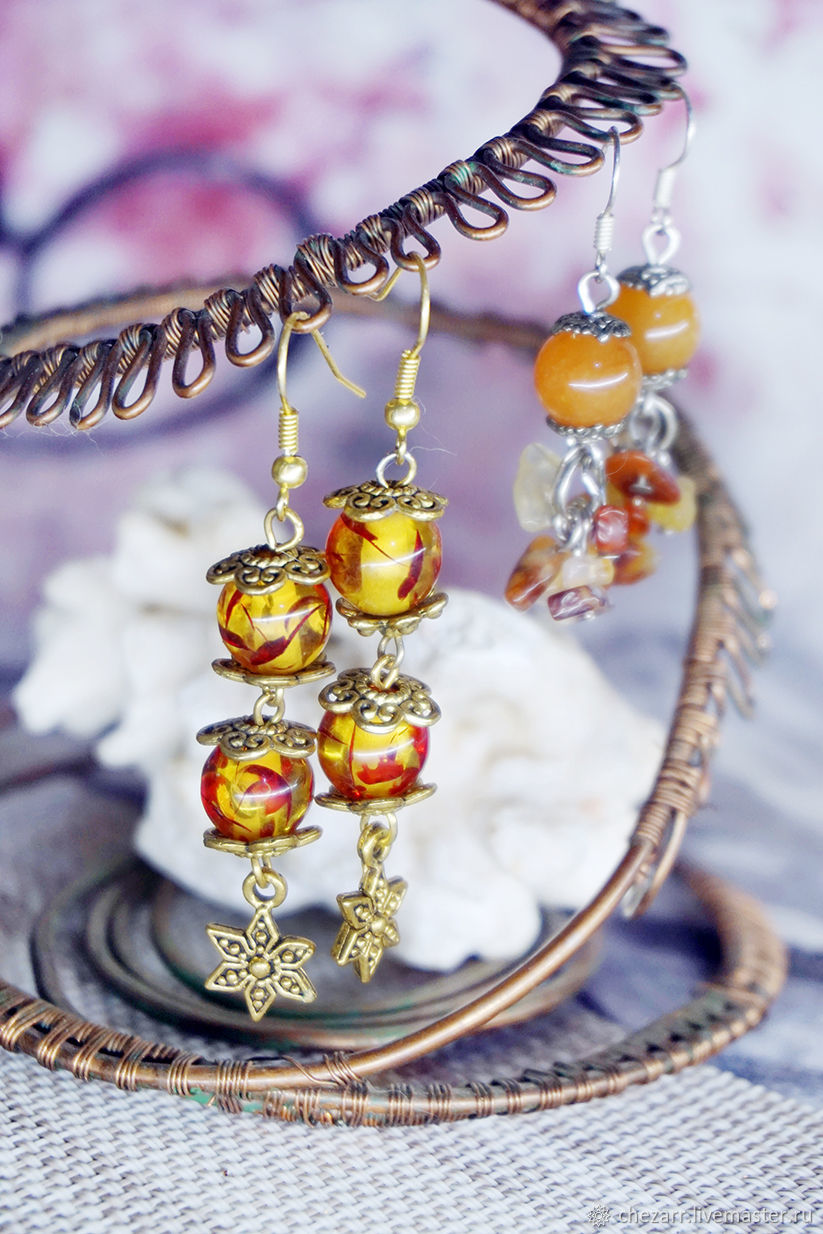 Long earrings with fused amber, Earrings, Chelyabinsk,  Фото №1