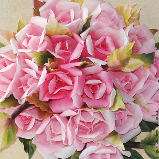 Картины цветов ручной работы. Ярмарка Мастеров - ручная работа. Купить Топиарий. Розы. Квиллинг. Handmade. Розовый, Квиллинг, проволока