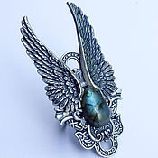 Украшения handmade. Livemaster - original item Angel ring Labradorite, ring with wings. Handmade.