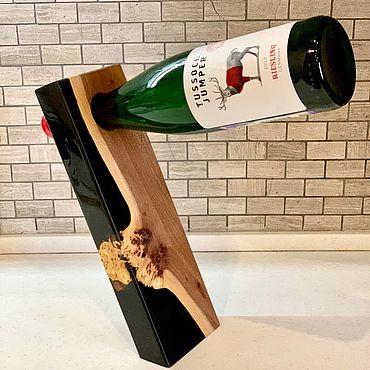 Для дома и интерьера ручной работы. Ярмарка Мастеров - ручная работа Поставка держатель для бутылки из массива карагача. Handmade.