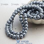 Жемчуг (109 бусин) 1 нить 80 см. Искрящийся Серый 8мм (bpast33)