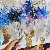 Картины и панно handmade. Livemaster - original item Textured pattern - Gold and blue. Handmade.