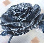handmade. Livemaster - original item Bezel with rose of jeans. FABRIC FLOWERS.. Handmade.