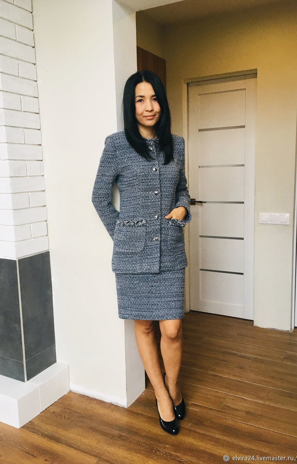 Costumes handmade. Livemaster - handmade. Buy Chanel style suit, women's suit.Grey, dressy suit, boucle chanel