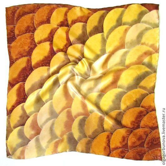 """Шали, палантины ручной работы. Ярмарка Мастеров - ручная работа. Купить Батик шейный платок """" Золотая змея"""". Handmade."""
