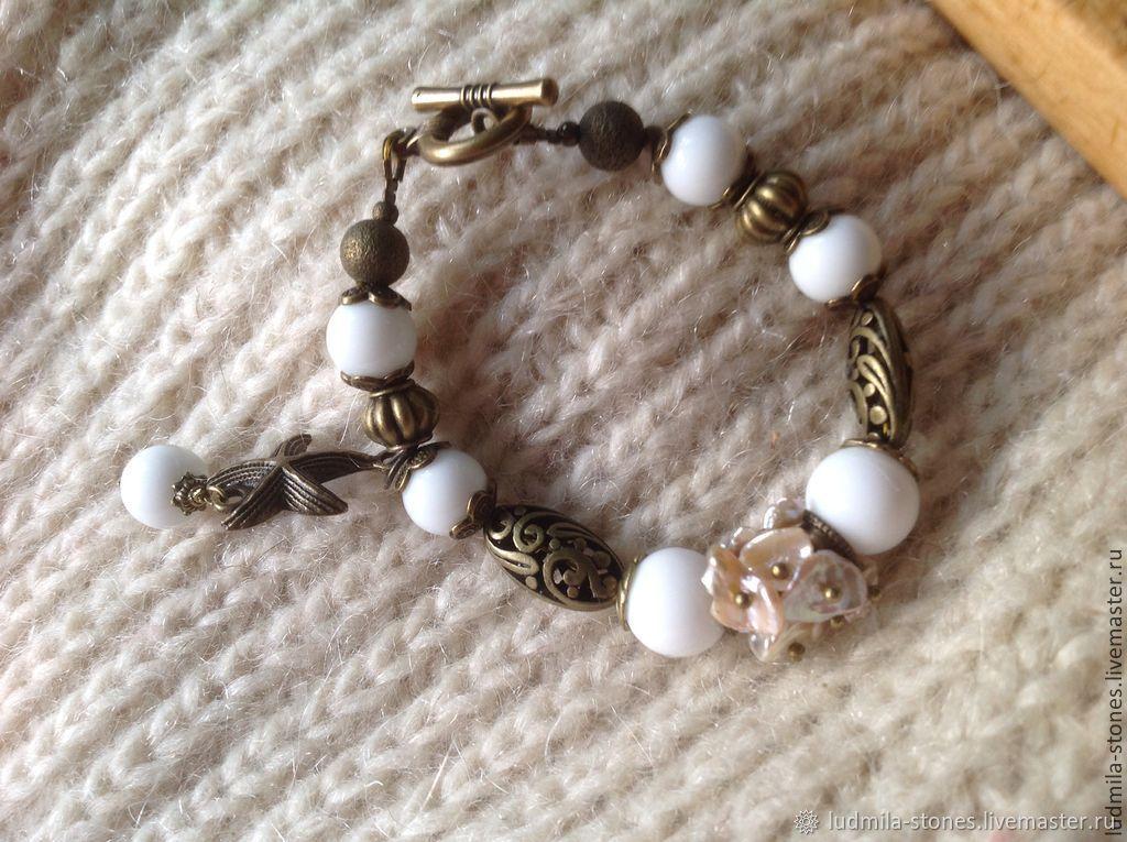 Bracelet and earrings 'White sand coast', Bead bracelet, Moscow,  Фото №1