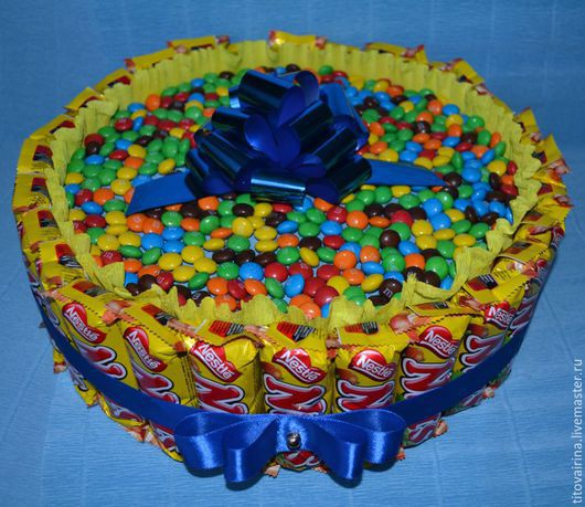"""Букеты ручной работы. Ярмарка Мастеров - ручная работа. Купить Торт из шоколадок """"Наслаждение"""". Handmade. Желтый, шоколад"""