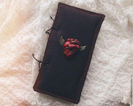 """Блокноты ручной работы. Ярмарка Мастеров - ручная работа. Купить Блокнот """"Black Heart"""".. Handmade. Черный, анатомическое сердце, стимпанк"""