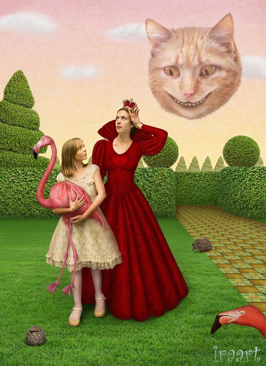 """Фотокартины ручной работы. Ярмарка Мастеров - ручная работа. Купить Фотосказка """"Алиса в стране чудес. Крокет у королевы"""". Handmade. Королева"""