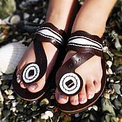 """Обувь ручной работы. Ярмарка Мастеров - ручная работа Кожаные сандалии """"Crazy Brown & White"""". Handmade."""