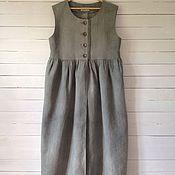 Одежда ручной работы. Ярмарка Мастеров - ручная работа Жилет - сарафан Бохо длинный из льна. Handmade.