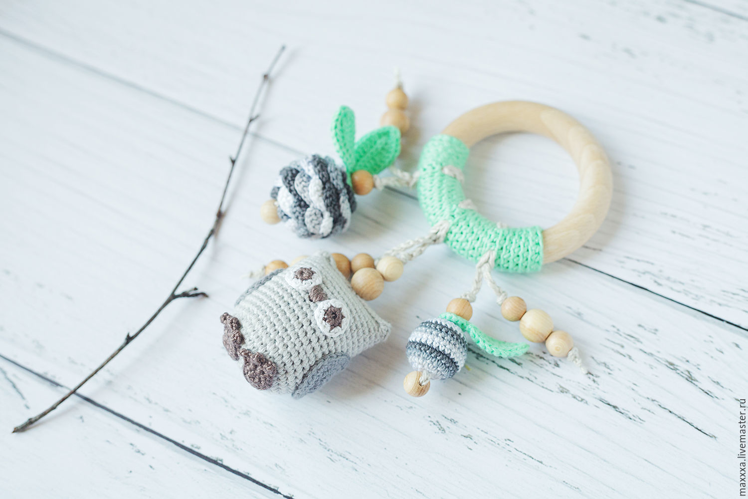 Teether ring with owl mint grey - Natural teething toy, Teething toys, Ryazan,  Фото №1