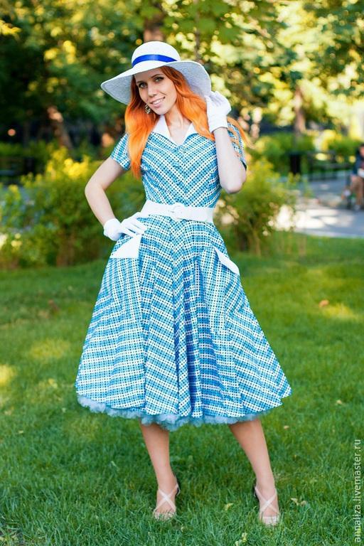 """Платья ручной работы. Ярмарка Мастеров - ручная работа. Купить Платье в стиле 50-х """"Bluesky"""". Handmade. Ретро стиль"""