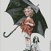 """Материалы для творчества ручной работы. Ярмарка Мастеров - ручная работа Схема для вышивки """"Дождь, девочка, зонт!. Handmade."""
