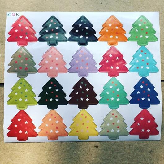 """Упаковка ручной работы. Ярмарка Мастеров - ручная работа. Купить Стикеры """"Новогодняя елка"""". Handmade. Разноцветный, подарочная упаковка"""