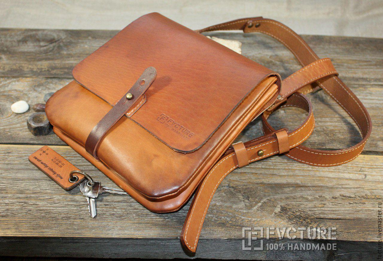 Форма мужской сумки из кожи