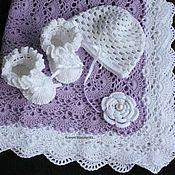 Работы для детей, handmade. Livemaster - original item set for newborn blanket booties hat. Handmade.