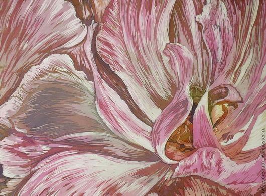 Картины цветов ручной работы. Ярмарка Мастеров - ручная работа. Купить Панно батик Цветок. Handmade. Коралловый, розовый цветок