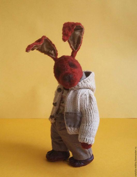 Мишки Тедди ручной работы. Ярмарка Мастеров - ручная работа. Купить Кролик Тедди Егорка.. Handmade. Бордовый, плюш винтажный