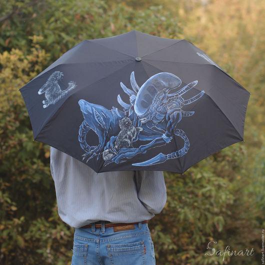 """Зонты ручной работы. Ярмарка Мастеров - ручная работа. Купить Зонт с ручной росписью """"Ксеноморф"""". Handmade. Черный, расписной зонт"""