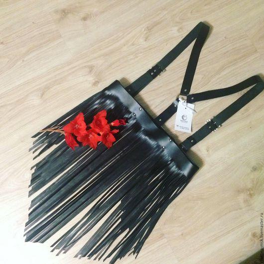 Пояса, ремни ручной работы. Ярмарка Мастеров - ручная работа. Купить Портупея с баской бахрамой. Handmade. Черный, натуральная кожа