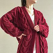 Одежда handmade. Livemaster - original item cardigans: Women`s knitted oversize cardigan in Bordeaux color. Handmade.
