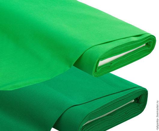 Ткань немецкий хлопок (зеленая, темно-зеленая)