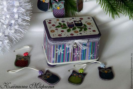 Шкатулка декупаж, шкатулка маленькая, шкатулка с совами, совы, фиолетовый, полоска, шкатулка купить, декупаж, ручная работа, подарок женщине, подарок девочке, подарок девушке, купить. Клёнина Марина