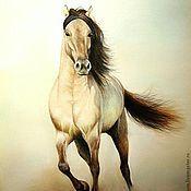 Картины и панно ручной работы. Ярмарка Мастеров - ручная работа картина пастелью Лошадь мчится - пыль клубится. Handmade.