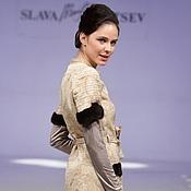 Одежда ручной работы. Ярмарка Мастеров - ручная работа Платье-плащ с норкой и кружевом. Handmade.
