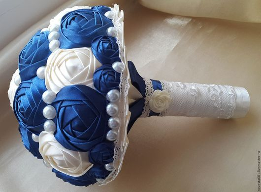 Свадебные цветы ручной работы. Ярмарка Мастеров - ручная работа. Купить Свадебный букет. Handmade. Тёмно-синий, свадебный букет