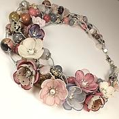Украшения handmade. Livemaster - original item Pearly Powdery Dawn. necklace with removable floral decoration. Handmade.