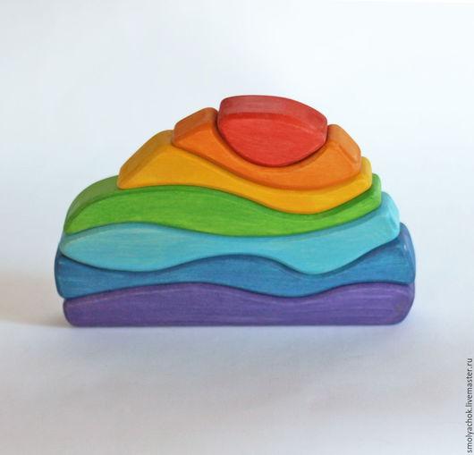 Развивающие игрушки ручной работы. Ярмарка Мастеров - ручная работа. Купить Пирамидка Камушек Радуга. Развивающая деревянная игрушка.. Handmade.