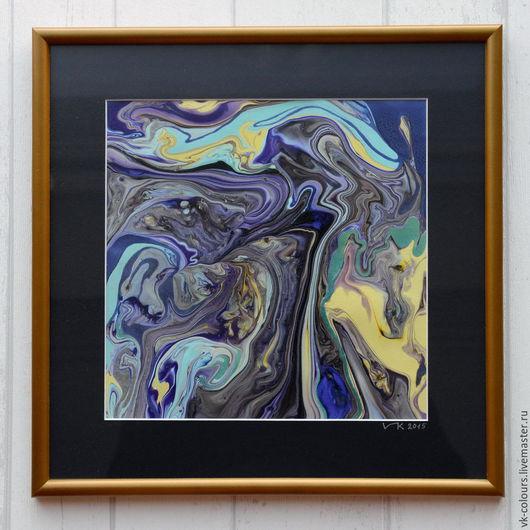 Абстракция ручной работы. Ярмарка Мастеров - ручная работа. Купить живопись на воде 4. Handmade. Тёмно-синий, желтый