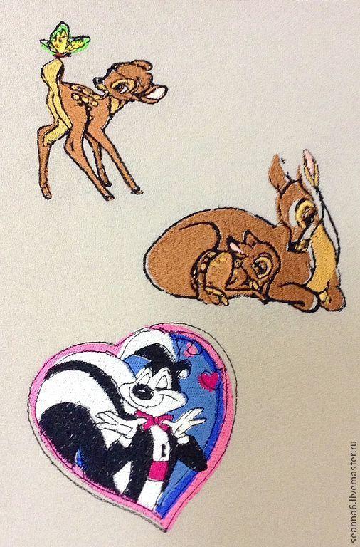 """Детская ручной работы. Ярмарка Мастеров - ручная работа. Купить Картинка вышитая, картина, панно """"Бэмби, милый Бэмби"""". Handmade."""